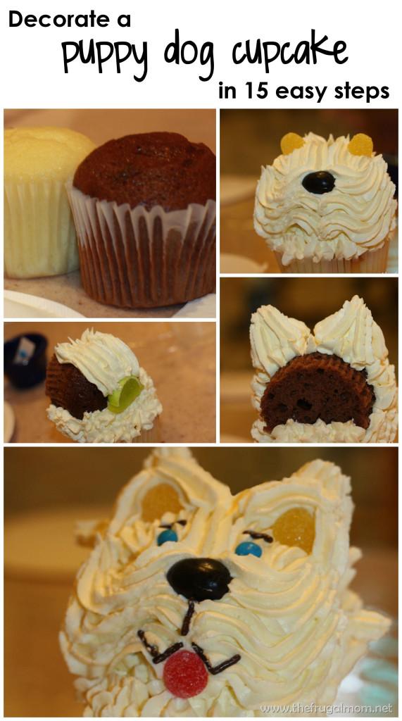 decorate a puppy dog cupcake