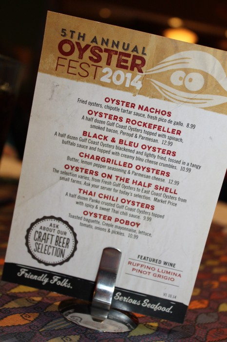The fish city grill oyster selections take over oysterfest for Fish city grill menu