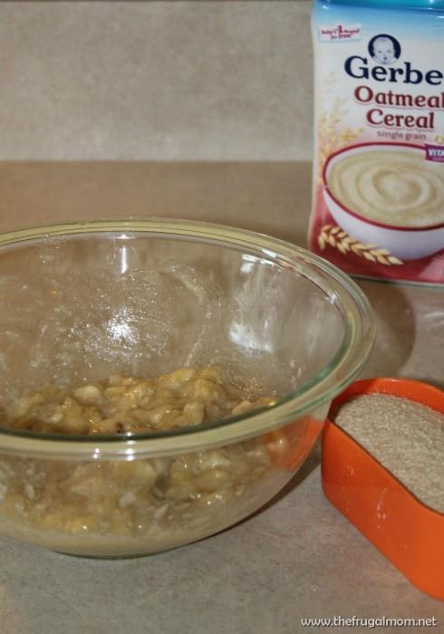 banana oatmeal bites using baby cereal
