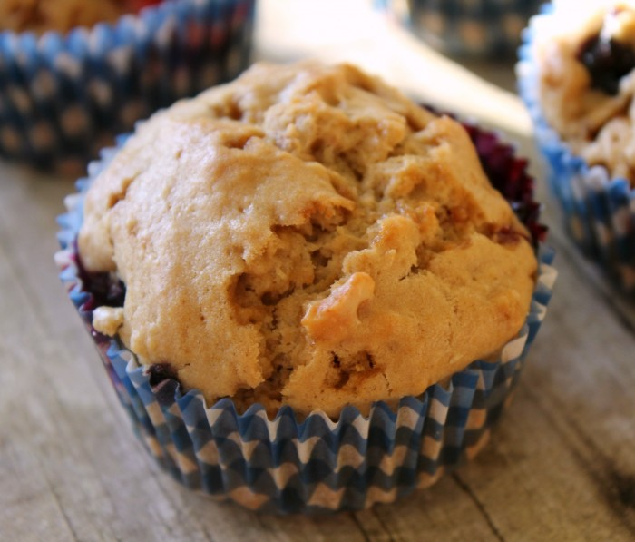 Strawberry Blueberry Muffins with Walnuts