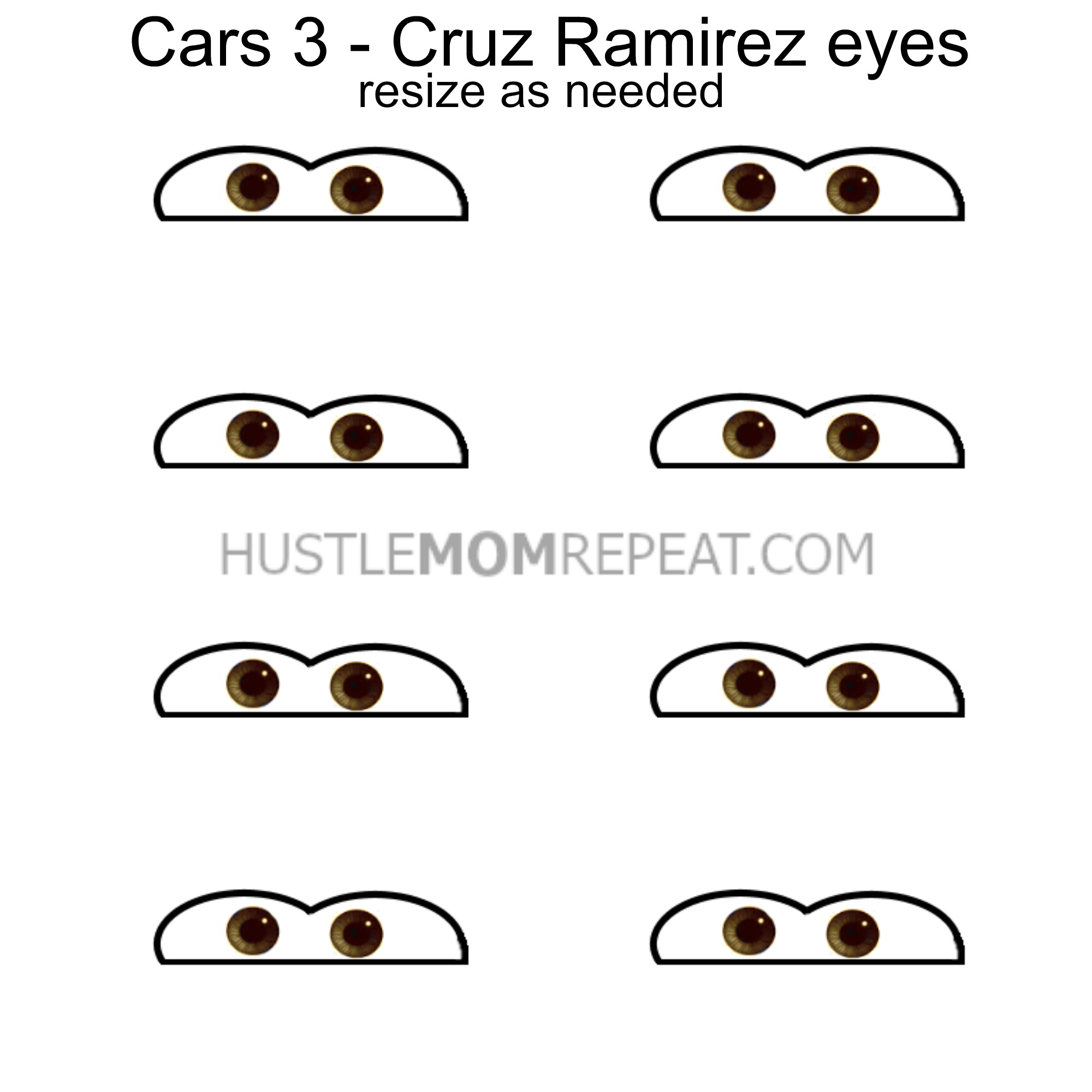 picture regarding Eyes Printable known as cars and trucks 3 cruz ramirez eyes printable - Hustle Mother Repeat