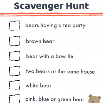 Bear Hunt Scavenger Hunt Printable